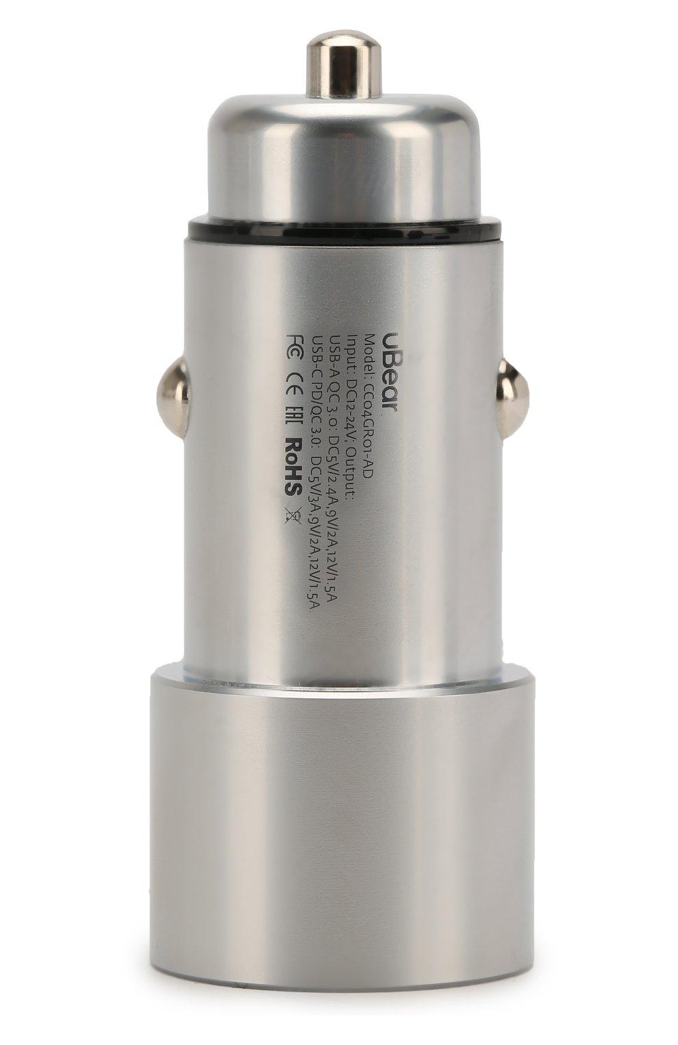 Мужской автомобильное зарядное устройство UBEAR серого цвета, арт. CC04GR01-AD | Фото 2