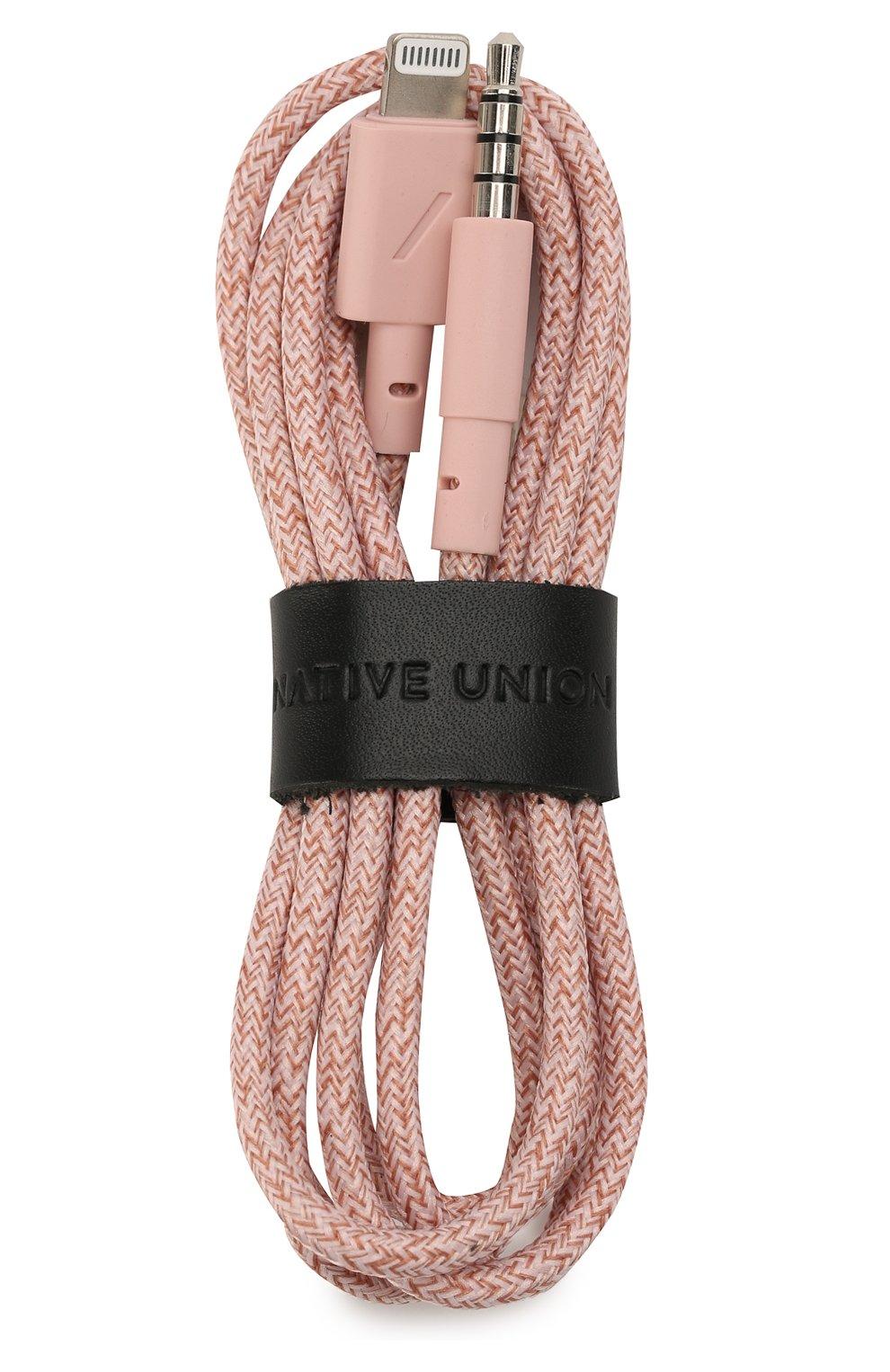 Мужской кабель lightning/3.5mm NATIVE UNION розового цвета, арт. BELT-L-AUX-ROSE   Фото 1