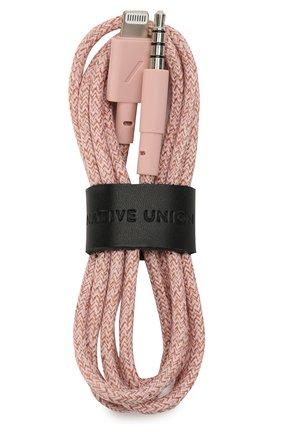 Мужской кабель lightning/3.5mm NATIVE UNION розового цвета, арт. BELT-L-AUX-ROSE | Фото 1