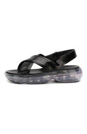 Женские кожаные сандалии PRADA черного цвета, арт. 1X533L-055-F0002-040 | Фото 2