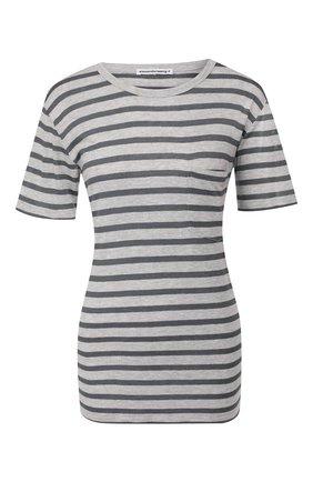 Женская футболка из смеси вискозы и льна ALEXANDERWANG.T светло-серого цвета, арт. 4CC2191037 | Фото 1