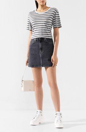 Женская футболка из смеси вискозы и льна ALEXANDERWANG.T светло-серого цвета, арт. 4CC2191037 | Фото 2