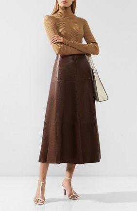 Женская кожаная юбка TWINS FLORENCE коричневого цвета, арт. TWFAI19G0N02B | Фото 2