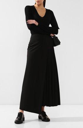 Женская шерстяная юбка ISABEL BENENATO черного цвета, арт. DW13F19 | Фото 2