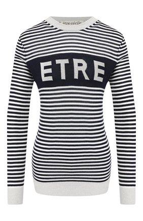 Женская пуловер из смеси шерсти и вискозы ETRE CECILE черно-белого цвета, арт. ETRE-BFK MERIN0 W00L/ LUREX | Фото 1