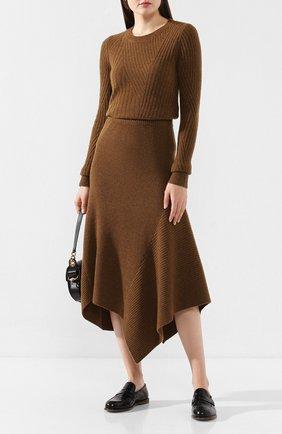 Женская пуловер из смеси шерсти и кашемира PRINGLE OF SCOTLAND хаки цвета, арт. WTF074 | Фото 2