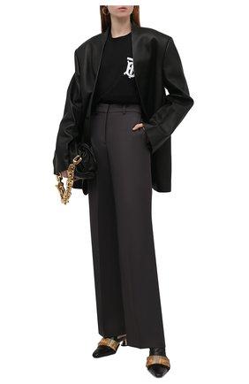 Женская хлопковая футболка BURBERRY черного цвета, арт. 8017472 | Фото 2