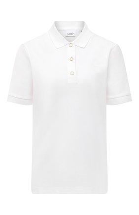 Женское хлопковое поло BURBERRY белого цвета, арт. 8017153 | Фото 1