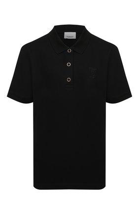 Женское хлопковое поло BURBERRY черного цвета, арт. 8015211 | Фото 1