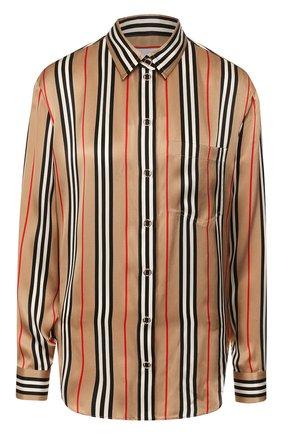 Женская шелковая блузка BURBERRY бежевого цвета, арт. 8011074 | Фото 1