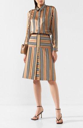 Женская шелковая блузка BURBERRY бежевого цвета, арт. 8011074 | Фото 2