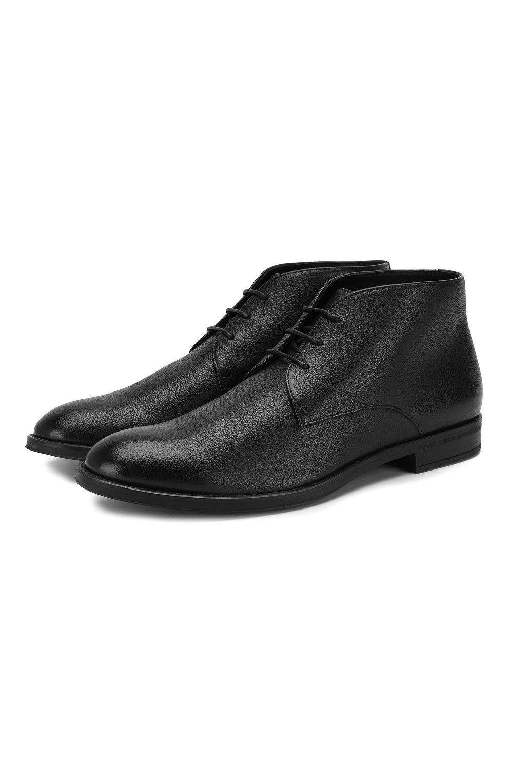 Мужские кожаные ботинки BOSS черного цвета, арт. 50418098 | Фото 1