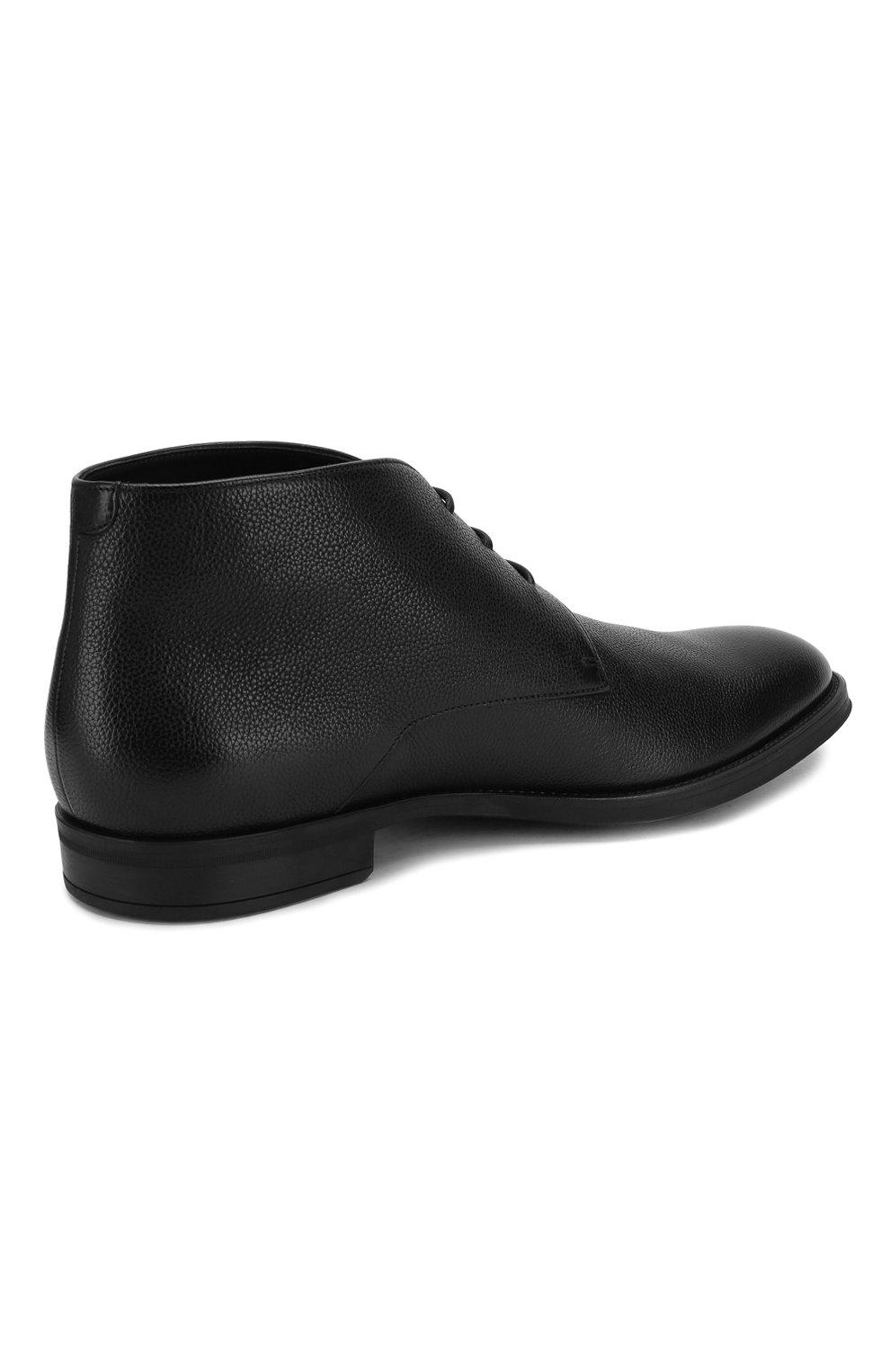 Мужские кожаные ботинки BOSS черного цвета, арт. 50418098 | Фото 4