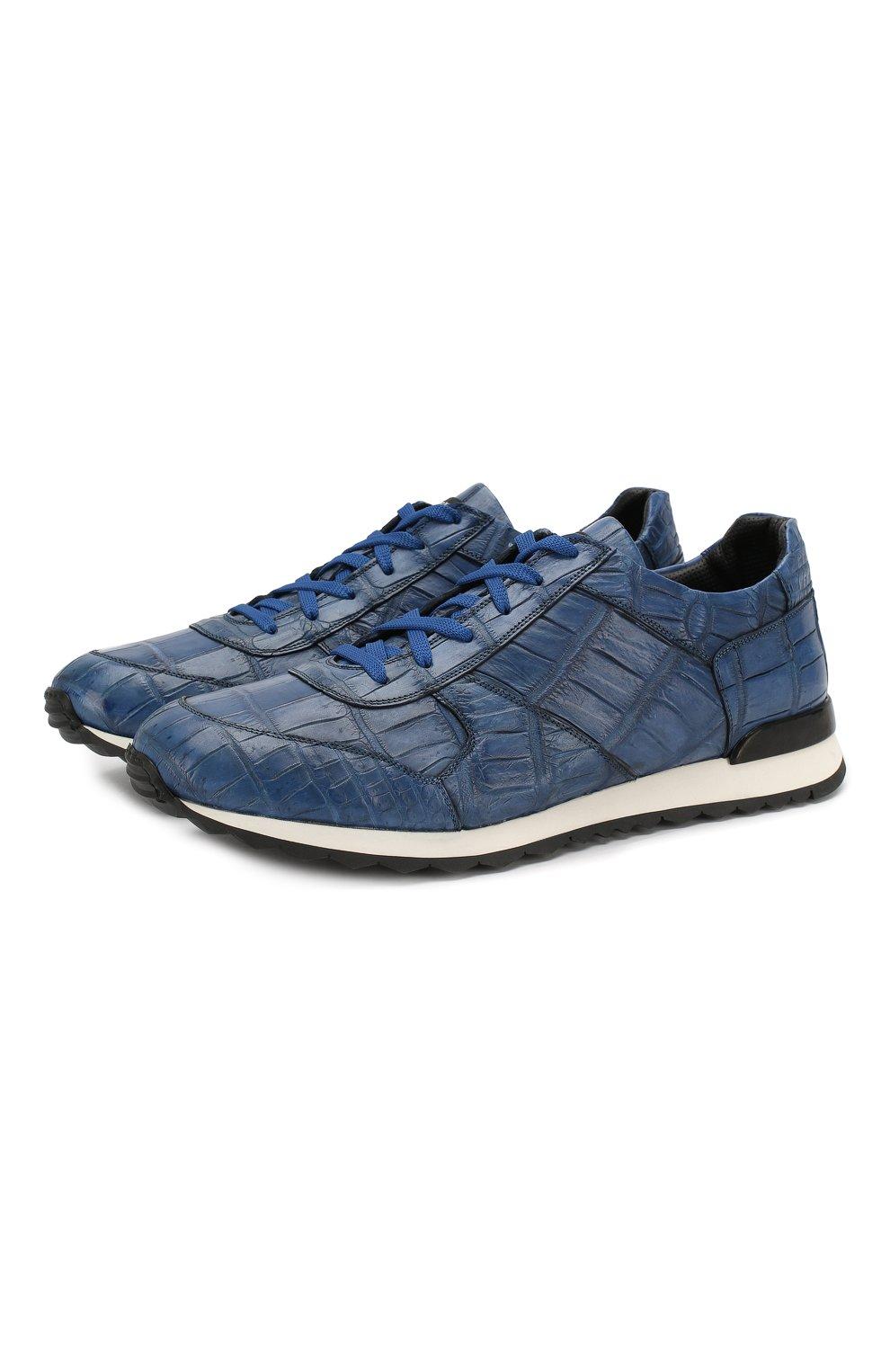 Мужские кроссовки из кожи крокодила KITON синего цвета, арт. USSVLAN/N00102   Фото 1