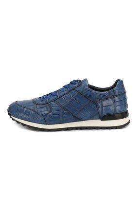 Мужские кроссовки из кожи крокодила KITON синего цвета, арт. USSVLAN/N00102   Фото 3