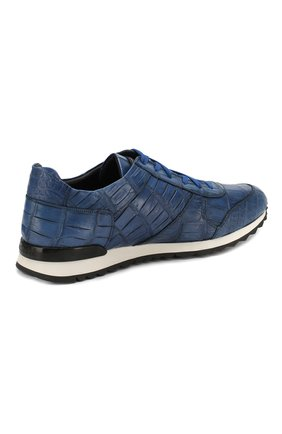 Мужские кроссовки из кожи крокодила KITON синего цвета, арт. USSVLAN/N00102   Фото 4