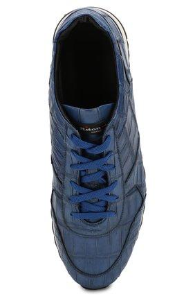 Мужские кроссовки из кожи крокодила KITON синего цвета, арт. USSVLAN/N00102   Фото 5