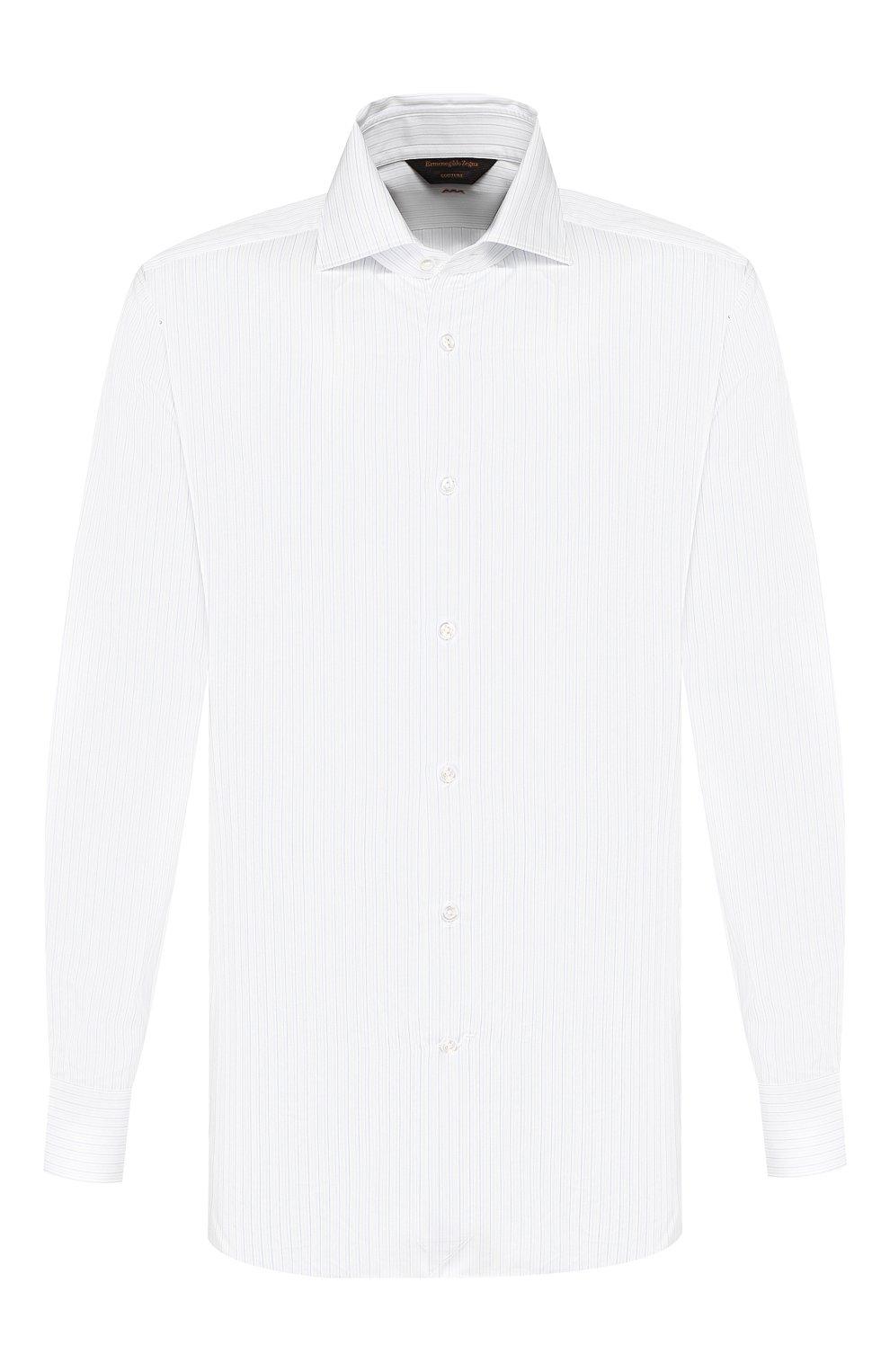 Мужская хлопковая сорочка ZEGNA COUTURE белого цвета, арт. 602075/9NS0LB   Фото 1