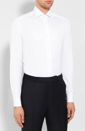 Мужская хлопковая сорочка ZEGNA COUTURE белого цвета, арт. 602075/9NS0LB   Фото 3