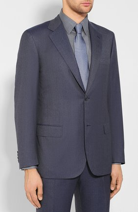 Мужской костюм из смеси шерсти и шелка BRIONI синего цвета, арт. RAH00M/08A63/PARLAMENT0 | Фото 2
