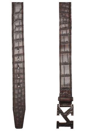 Мужской ремень из кожи крокодила KITON темно-коричневого цвета, арт. USC20PN00102/CNIL | Фото 2