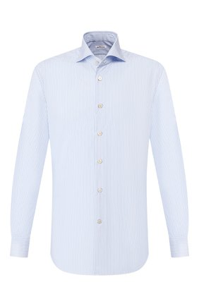 Мужская хлопковая сорочка KITON голубого цвета, арт. UCCH0709301 | Фото 1