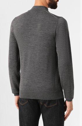Мужской джемпер из смеси шерсти и шелка LUCIANO BARBERA темно-серого цвета, арт. 109417/53306   Фото 4