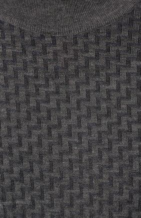 Мужской джемпер из смеси шерсти и шелка LUCIANO BARBERA темно-серого цвета, арт. 109417/53306   Фото 5