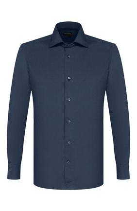 Мужская хлопковая сорочка ERMENEGILDO ZEGNA темно-синего цвета, арт. 601072/9MS0BR | Фото 1