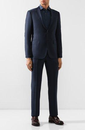 Мужская хлопковая сорочка ERMENEGILDO ZEGNA темно-синего цвета, арт. 601072/9MS0BR | Фото 2