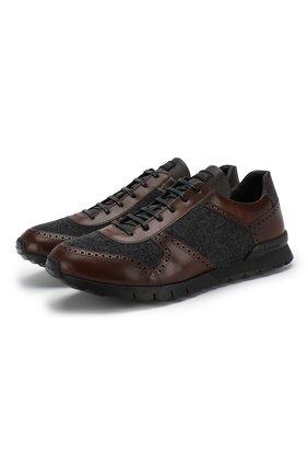 Мужские комбинированные кроссовки KITON темно-коричневого цвета, арт. USSARGXN00620 | Фото 1 (Статус проверки: Проверена категория, Проверено; Подошва: Плоская; Стили: Классический)