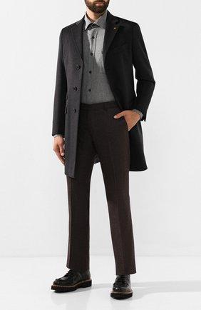 Мужской шерстяные брюки BERWICH темно-коричневого цвета, арт. ZIP/1 ALC/VB2108 | Фото 2