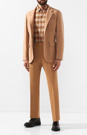 Мужская хлопковая рубашка BURBERRY бежевого цвета, арт. 8018639 | Фото 2