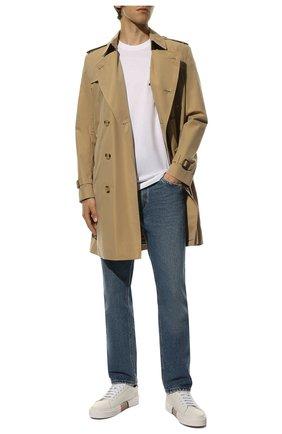 Мужская хлопковая футболка BURBERRY белого цвета, арт. 8017485 | Фото 2