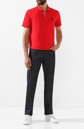 Мужское хлопковое поло BURBERRY красного цвета, арт. 8017006 | Фото 2