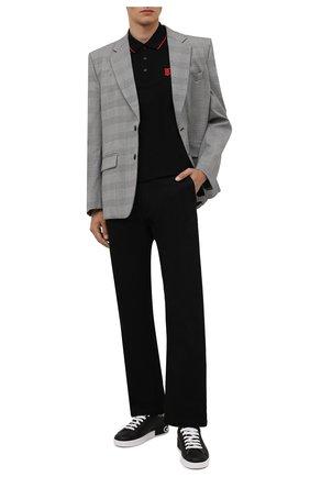 Мужское хлопковое поло BURBERRY черного цвета, арт. 8017003   Фото 2