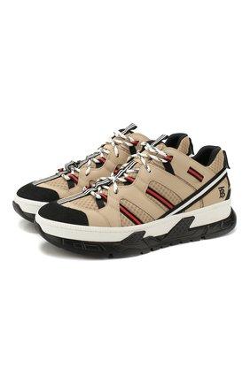 Мужские комбинированные кроссовки union BURBERRY бежевого цвета, арт. 8016481 | Фото 1