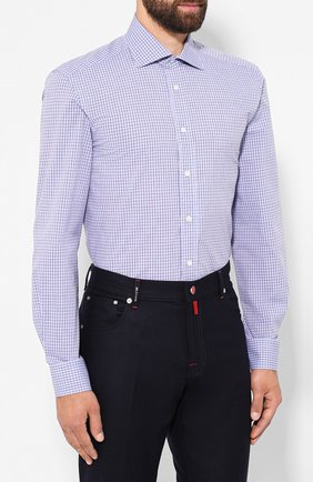 Мужская хлопковая сорочка LUCIANO BARBERA голубого цвета, арт. 105489/71305 | Фото 3