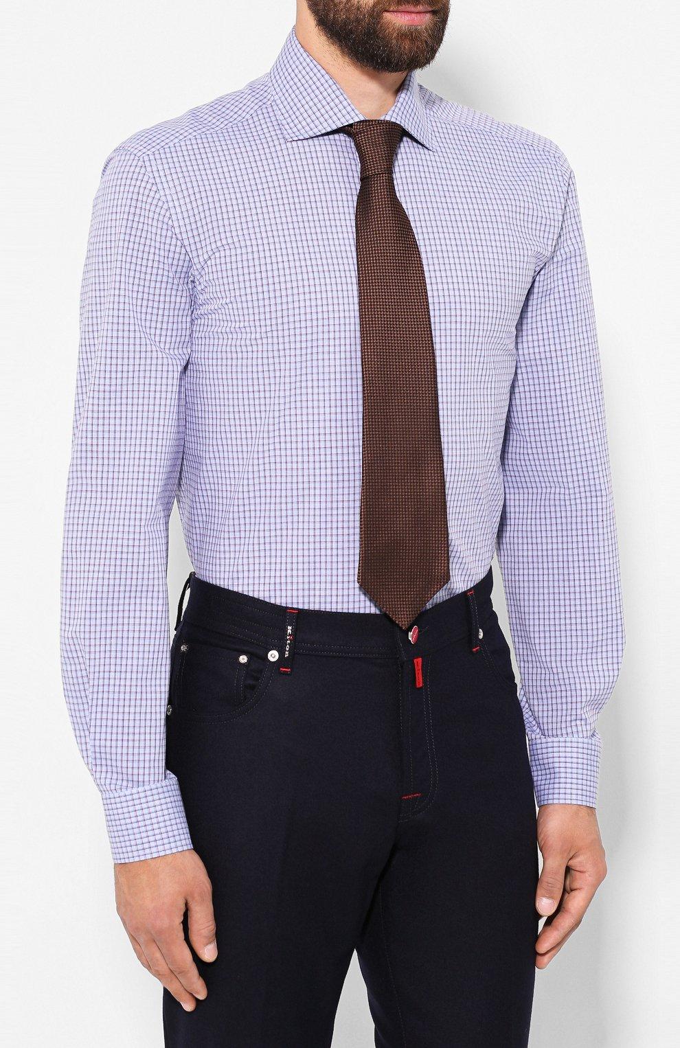 Мужская хлопковая сорочка LUCIANO BARBERA голубого цвета, арт. 105489/71305 | Фото 4