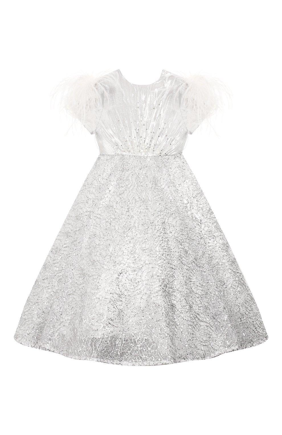 Детское платье YUDASHKIN KIDS серебряного цвета, арт. 319-KGE-473163   Фото 1