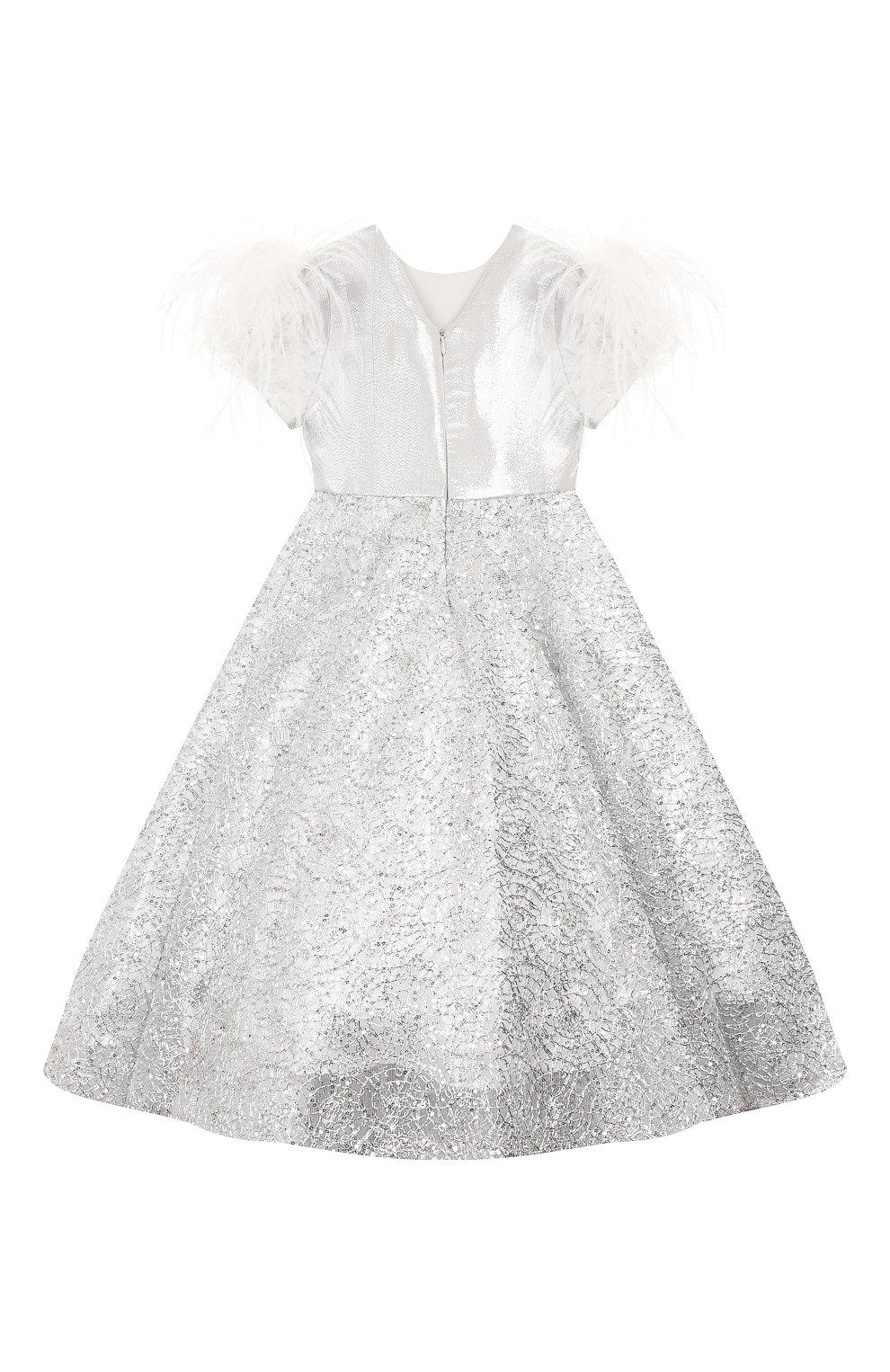 Детское платье YUDASHKIN KIDS серебряного цвета, арт. 319-KGE-473163   Фото 2