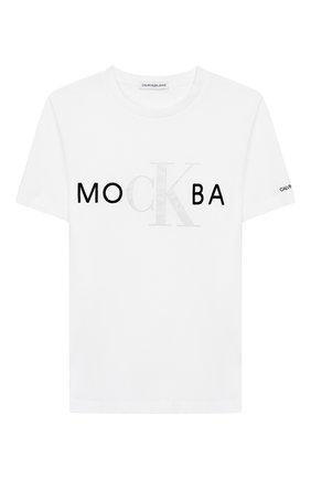 Детская хлопковая футболка CALVIN KLEIN JEANS белого цвета, арт. IU0IU00113 | Фото 1