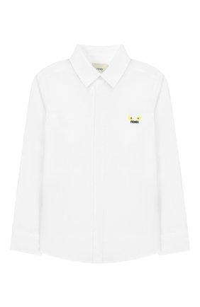 Детская хлопковая рубашка FENDI белого цвета, арт. JMC086/A31W/6A-8A | Фото 1