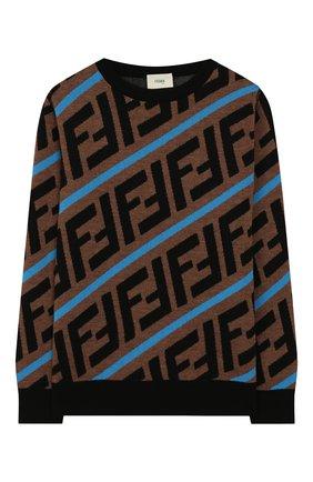 Детский шерстяной пуловер FENDI коричневого цвета, арт. JMG051/A8L7/10A-12+ | Фото 1