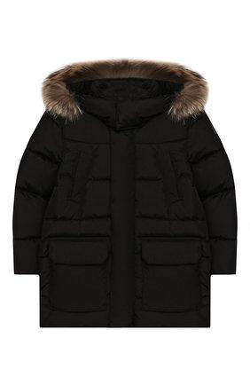 Пуховая куртка с меховой отделкой | Фото №1