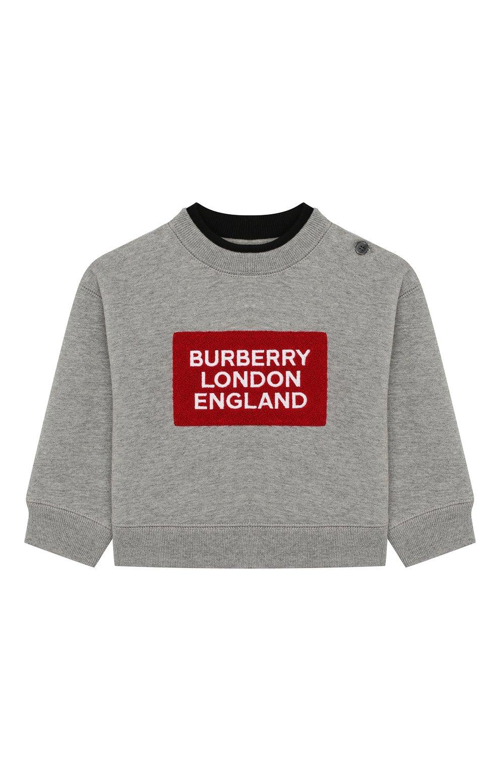 Детский хлопковый свитшот BURBERRY серого цвета, арт. 8020477 | Фото 1