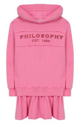 Детское хлопковое платье с капюшоном PHILOSOPHY DI LORENZO SERAFINI KIDS розового цвета, арт. PJAB30/FE147/UH001/XXS-XS   Фото 1