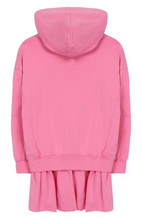 Детское хлопковое платье с капюшоном PHILOSOPHY DI LORENZO SERAFINI KIDS розового цвета, арт. PJAB30/FE147/UH001/XXS-XS   Фото 2