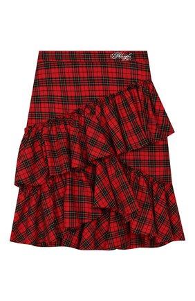 Детская хлопковая юбка PHILOSOPHY DI LORENZO SERAFINI KIDS красного цвета, арт. PJG007/CQ281/UHUNI/S-M | Фото 1