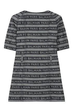 Детское хлопковое платье BALMAIN синего цвета, арт. 6L1161/LC060/4-10 | Фото 2